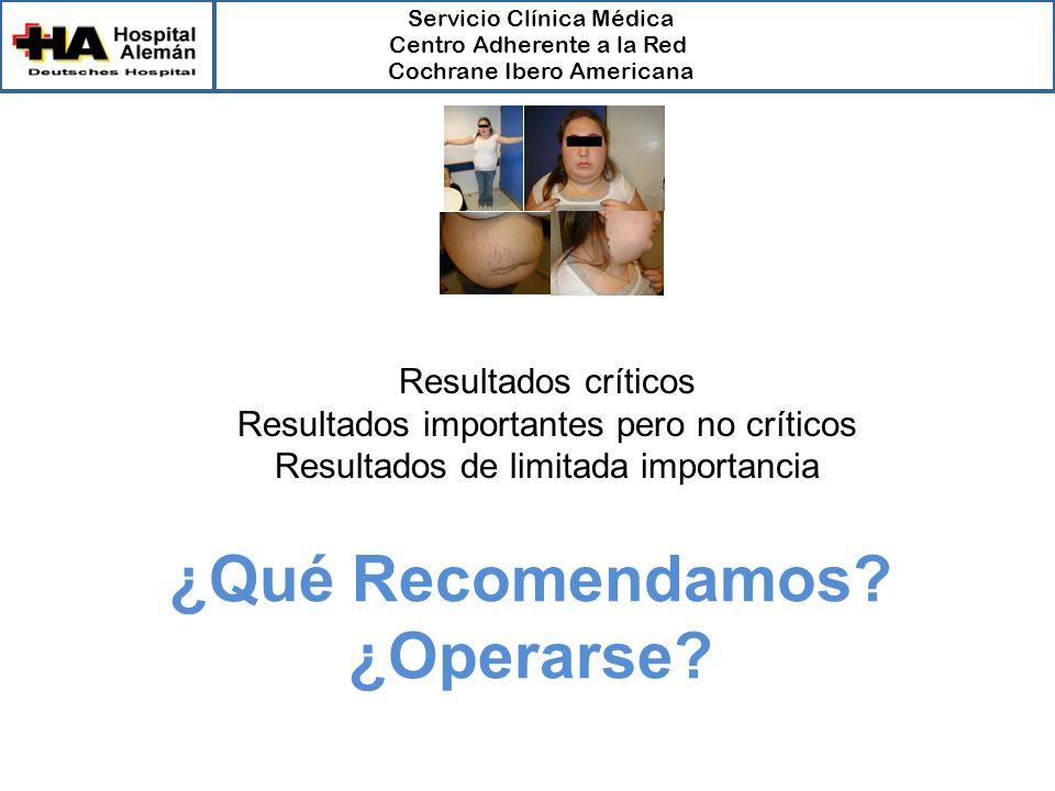 Servicio Clínica Médica Centro Adherente a la Red Cochrane Ibero Americana ¿Qué Recomendamos.