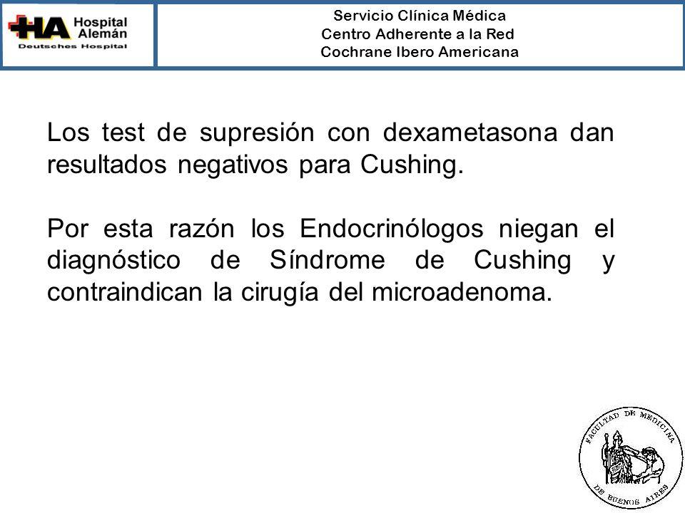 Servicio Clínica Médica Centro Adherente a la Red Cochrane Ibero Americana Los test de supresión con dexametasona dan resultados negativos para Cushing.