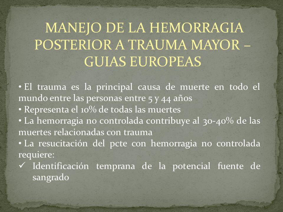 MANEJO DE LA HEMORRAGIA POSTERIOR A TRAUMA MAYOR – GUIAS EUROPEAS El trauma es la principal causa de muerte en todo el mundo entre las personas entre