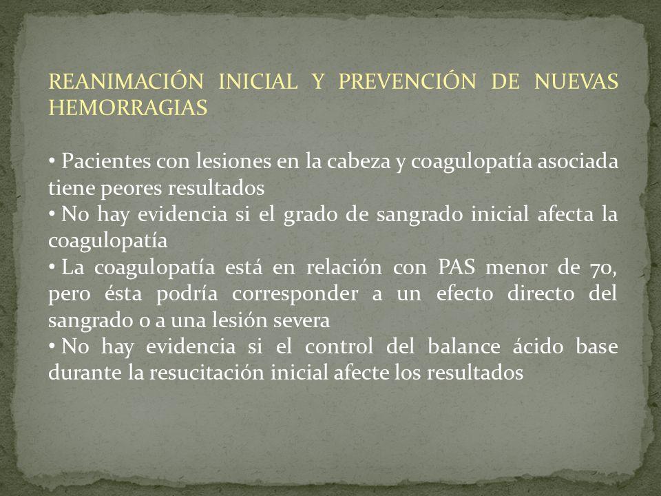 REANIMACIÓN INICIAL Y PREVENCIÓN DE NUEVAS HEMORRAGIAS Pacientes con lesiones en la cabeza y coagulopatía asociada tiene peores resultados No hay evid