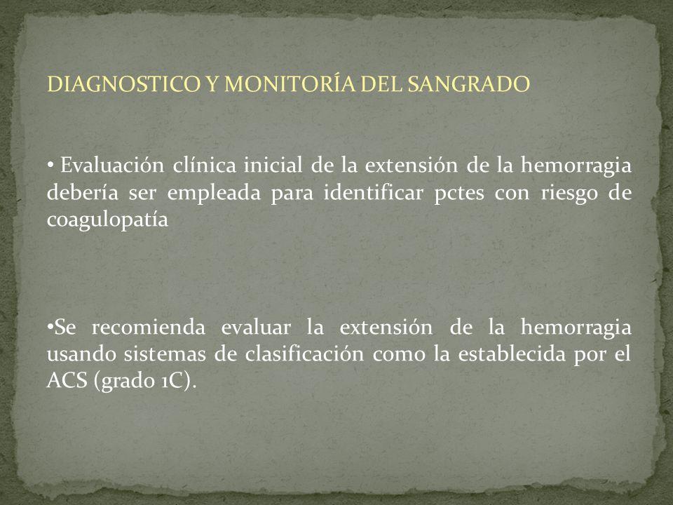 DIAGNOSTICO Y MONITORÍA DEL SANGRADO Evaluación clínica inicial de la extensión de la hemorragia debería ser empleada para identificar pctes con riesg