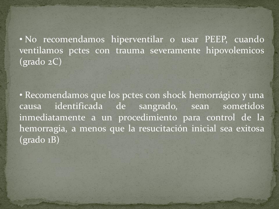 No recomendamos hiperventilar o usar PEEP, cuando ventilamos pctes con trauma severamente hipovolemicos (grado 2C) Recomendamos que los pctes con shoc