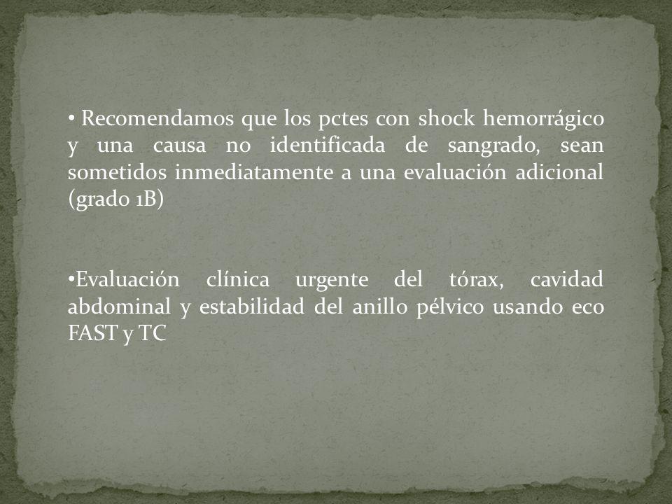 Recomendamos que los pctes con shock hemorrágico y una causa no identificada de sangrado, sean sometidos inmediatamente a una evaluación adicional (gr