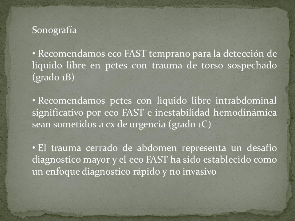 Sonografía Recomendamos eco FAST temprano para la detección de liquido libre en pctes con trauma de torso sospechado (grado 1B) Recomendamos pctes con