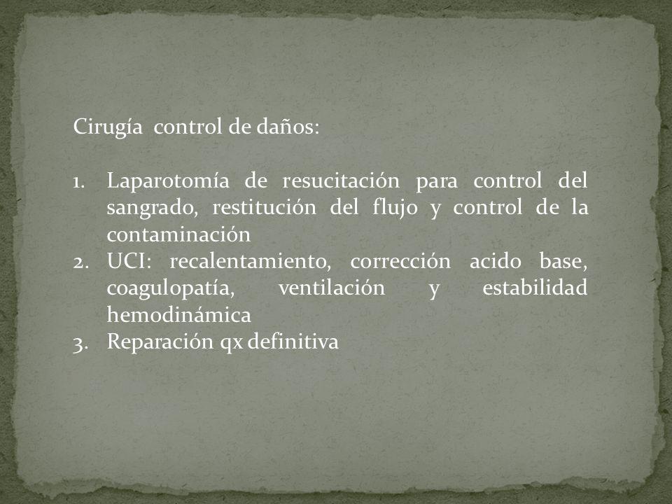 Cirugía control de daños: 1.Laparotomía de resucitación para control del sangrado, restitución del flujo y control de la contaminación 2.UCI: recalent