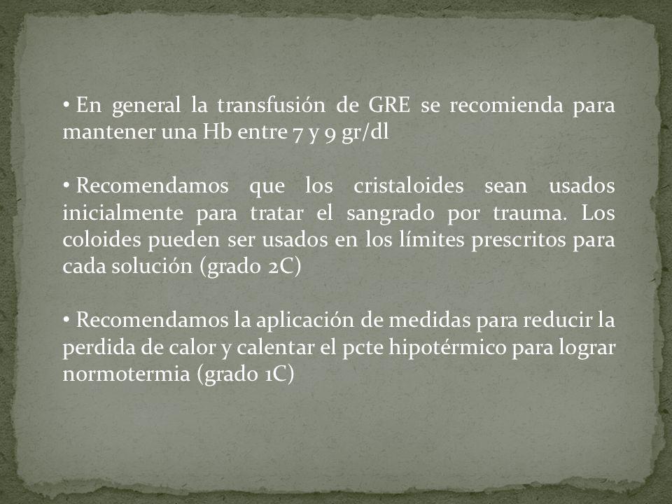 En general la transfusión de GRE se recomienda para mantener una Hb entre 7 y 9 gr/dl Recomendamos que los cristaloides sean usados inicialmente para