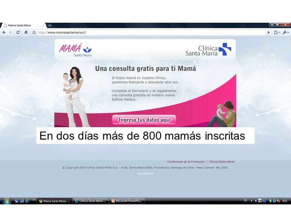 En dos días más de 800 mamás inscritas