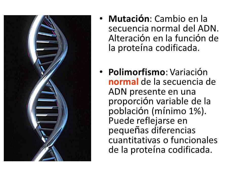 Mutaci ó n: Cambio en la secuencia normal del ADN.