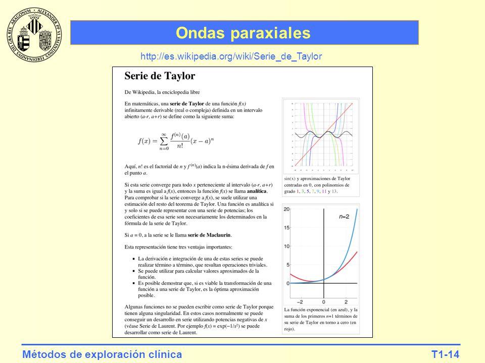 T1-14Métodos de exploración clínica Ondas paraxiales http://es.wikipedia.org/wiki/Serie_de_Taylor