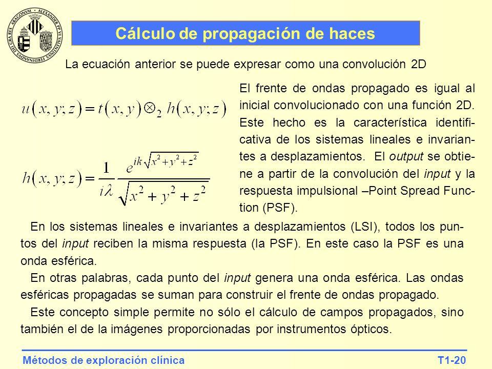 T1-20Métodos de exploración clínica Cálculo de propagación de haces La ecuación anterior se puede expresar como una convolución 2D El frente de ondas