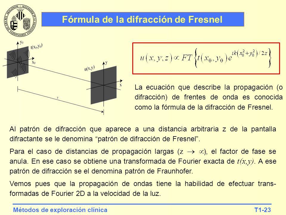 T1-23Métodos de exploración clínica Fórmula de la difracción de Fresnel La ecuación que describe la propagación (o difracción) de frentes de onda es c