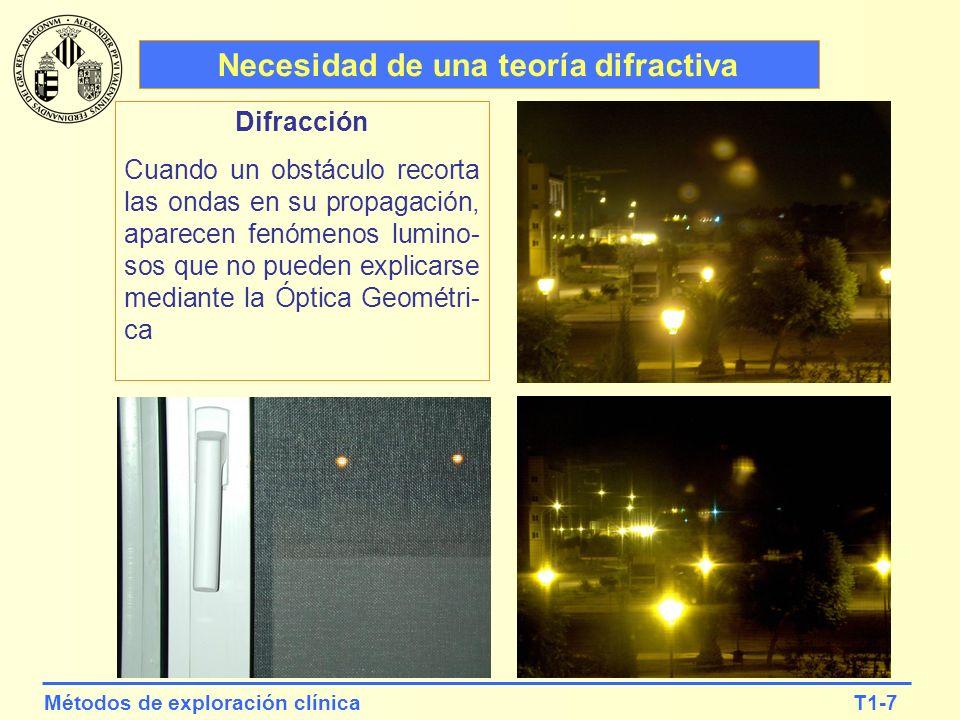 T1-18Métodos de exploración clínica Imagen de los microsurcos de un CD d La difracción permite medir con alta precisión distancias micrométricas