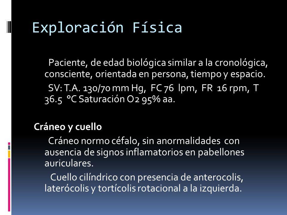 Exploración Física Paciente, de edad biológica similar a la cronológica, consciente, orientada en persona, tiempo y espacio.