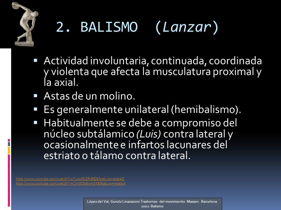 2. BALISMO (Lanzar) Actividad involuntaria, continuada, coordinada y violenta que afecta la musculatura proximal y la axial. Astas de un molino. Es ge