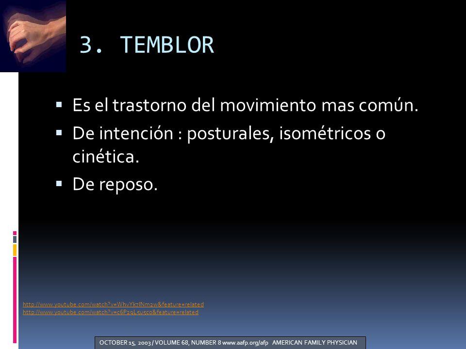 3. TEMBLOR http://www.youtube.com/watch?v=WhvYk7lNm2w&feature=related http://www.youtube.com/watch?v=c6P29L5u5co&feature=related Es el trastorno del m