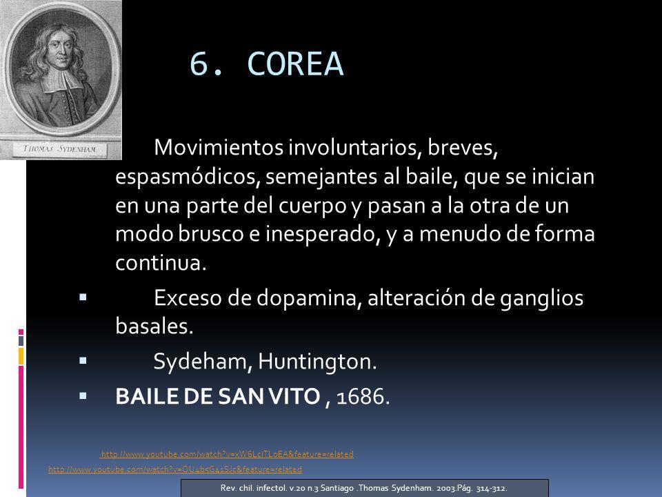 6. COREA Movimientos involuntarios, breves, espasmódicos, semejantes al baile, que se inician en una parte del cuerpo y pasan a la otra de un modo bru