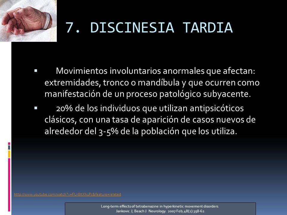 7. DISCINESIA TARDIA Movimientos involuntarios anormales que afectan: extremidades, tronco o mandíbula y que ocurren como manifestación de un proceso