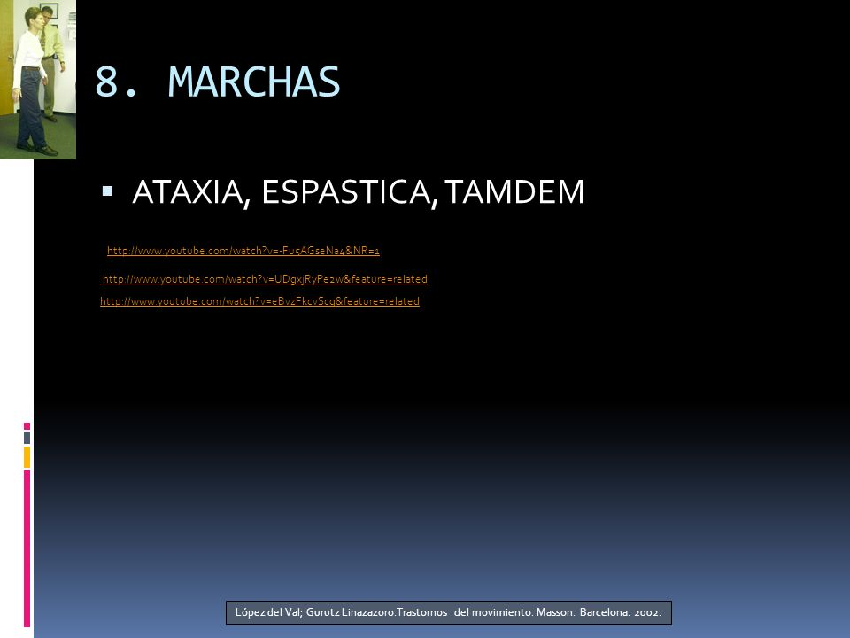 8. MARCHAS ATAXIA, ESPASTICA, TAMDEM http://www.youtube.com/watch?v=-Fu5AGseNa4&NR=1 http://www.youtube.com/watch?v=UDgxjRyPe2w&feature=related http:/