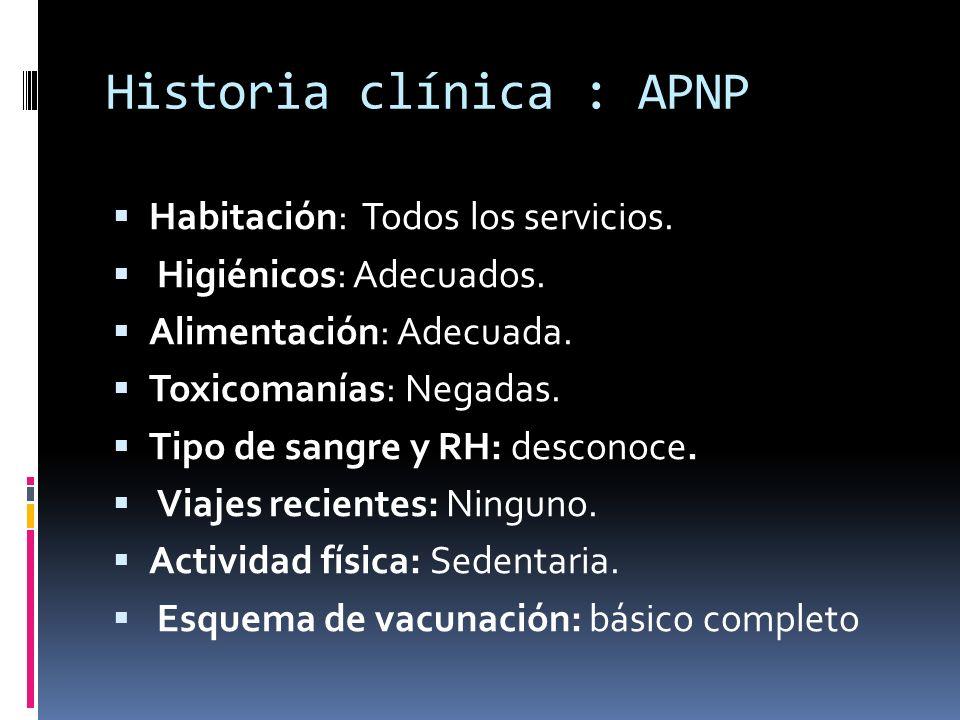 Historia clínica : APNP Habitación: Todos los servicios.