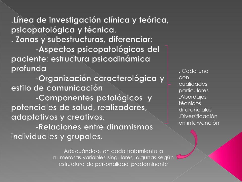 . Cada una con cualidades particulares.Abordajes técnicos diferenciales.Diversificación en intervención Adecuándose en cada tratamiento a numerosas va