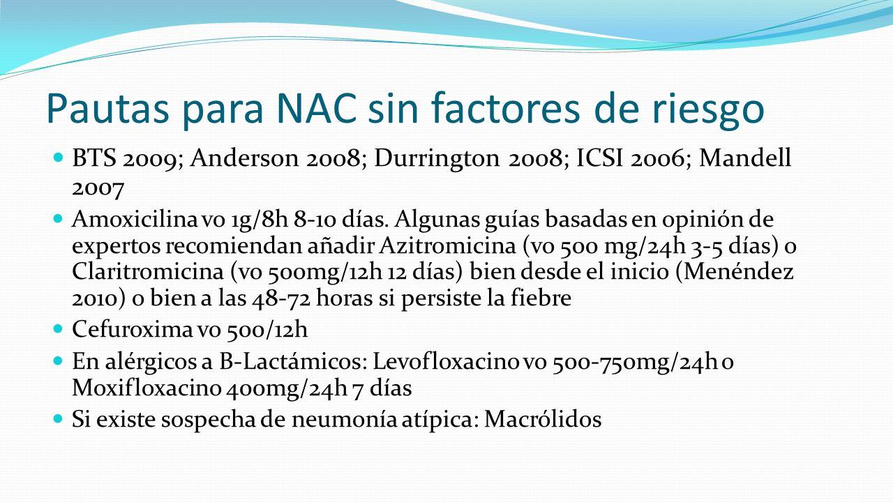 Pautas para NAC sin factores de riesgo BTS 2009; Anderson 2008; Durrington 2008; ICSI 2006; Mandell 2007 Amoxicilina vo 1g/8h 8-10 días. Algunas guías
