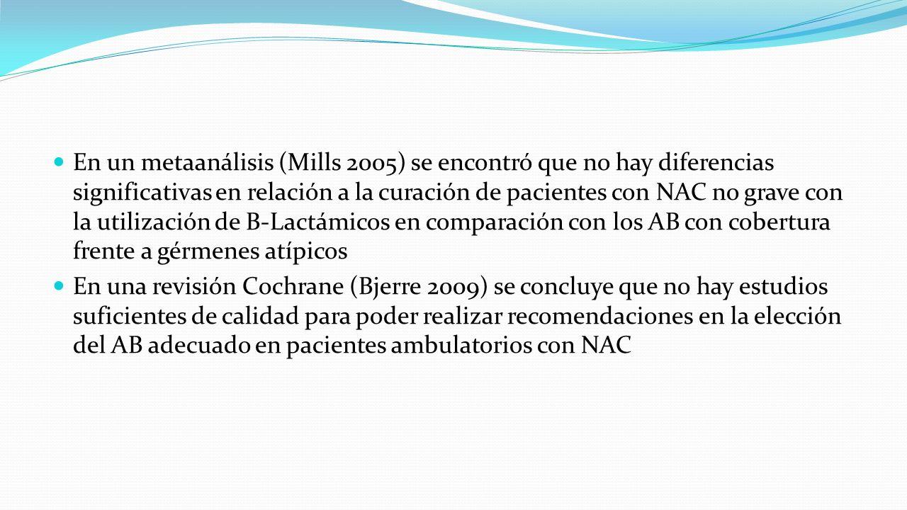 En un metaanálisis (Mills 2005) se encontró que no hay diferencias significativas en relación a la curación de pacientes con NAC no grave con la utili