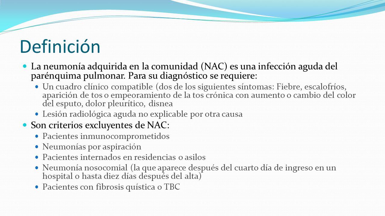 Definición La neumonía adquirida en la comunidad (NAC) es una infección aguda del parénquima pulmonar. Para su diagnóstico se requiere: Un cuadro clín