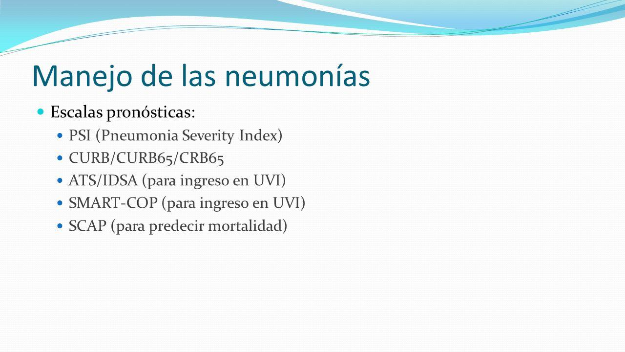 Manejo de las neumonías Escalas pronósticas: PSI (Pneumonia Severity Index) CURB/CURB65/CRB65 ATS/IDSA (para ingreso en UVI) SMART-COP (para ingreso e
