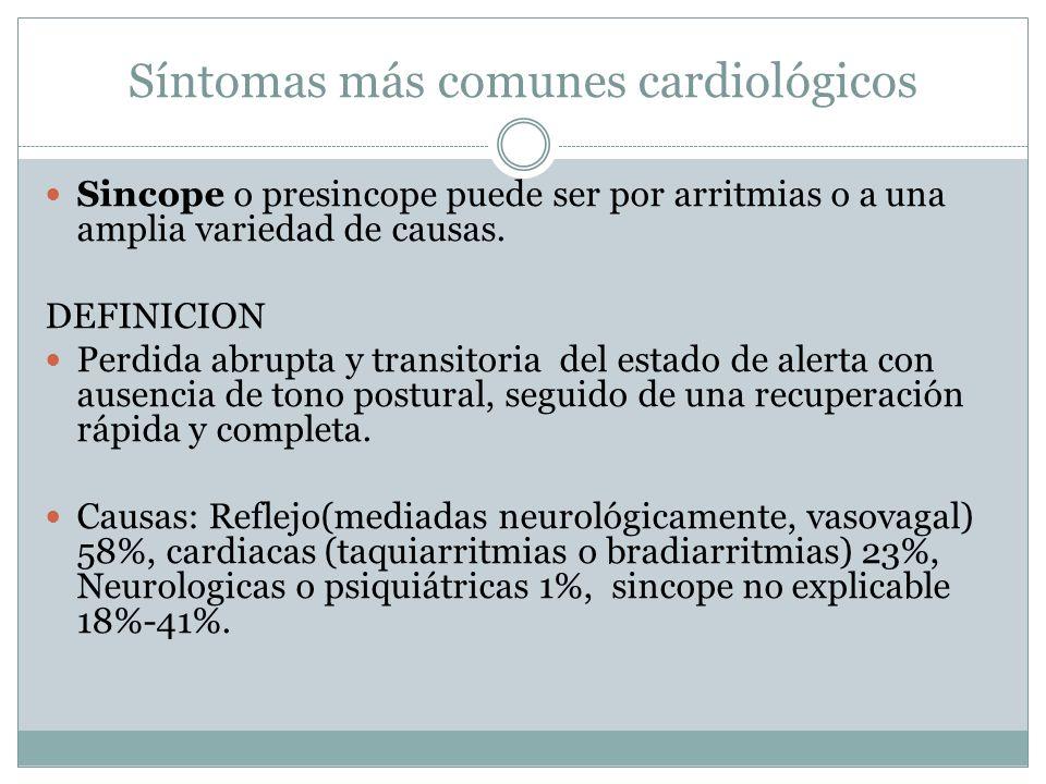 Síntomas más comunes cardiológicos Sincope o presincope puede ser por arritmias o a una amplia variedad de causas. DEFINICION Perdida abrupta y transi