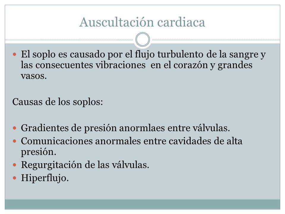 Auscultación cardiaca El soplo es causado por el flujo turbulento de la sangre y las consecuentes vibraciones en el corazón y grandes vasos. Causas de