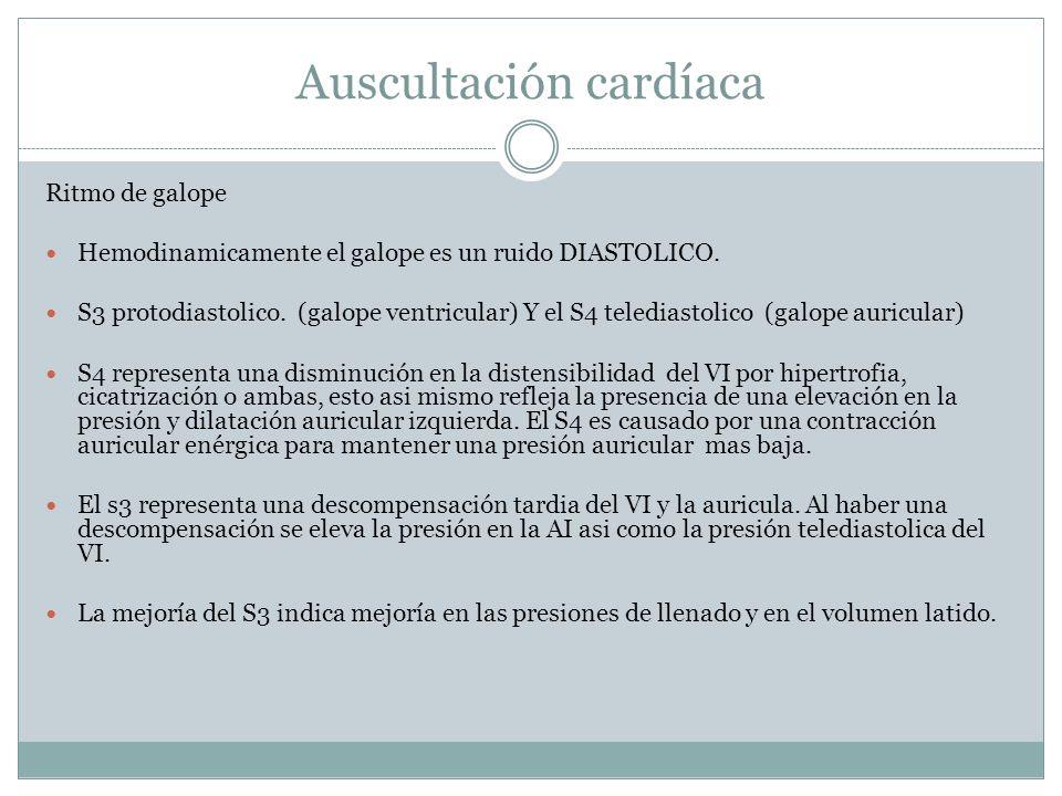 Auscultación cardíaca Ritmo de galope Hemodinamicamente el galope es un ruido DIASTOLICO. S3 protodiastolico. (galope ventricular) Y el S4 telediastol