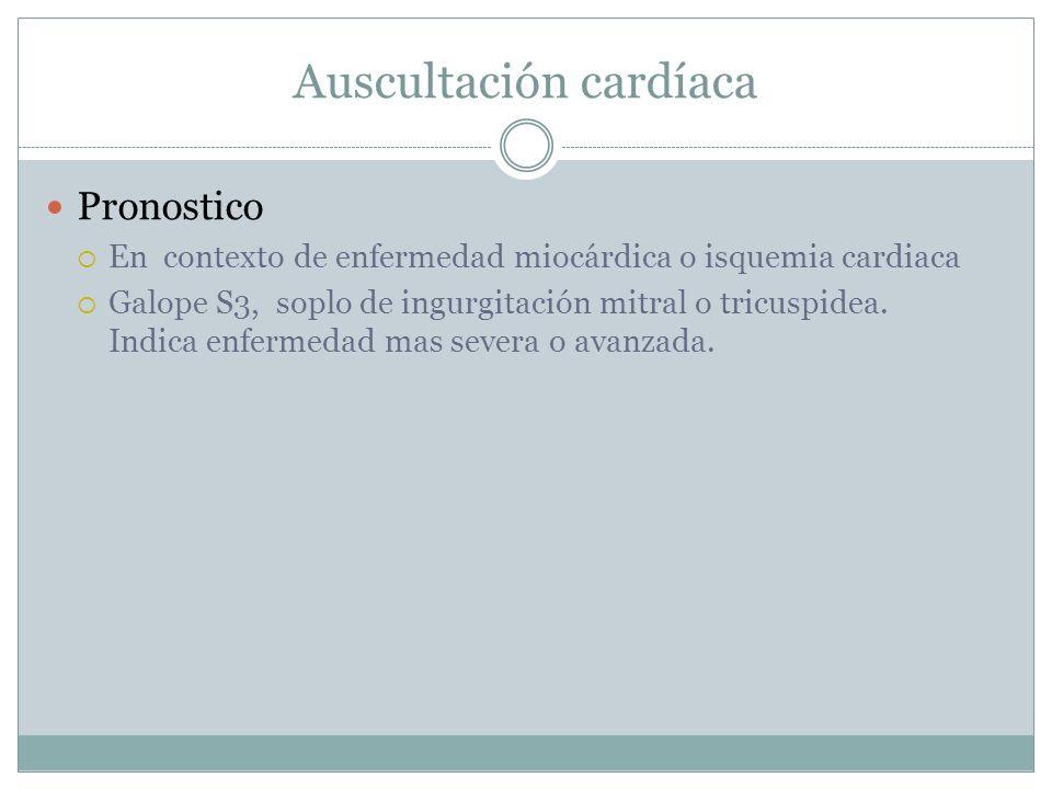 Auscultación cardíaca Pronostico En contexto de enfermedad miocárdica o isquemia cardiaca Galope S3, soplo de ingurgitación mitral o tricuspidea.