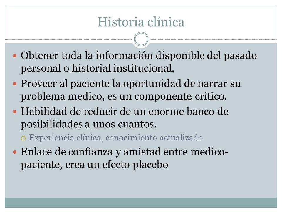 Historia clínica Obtener toda la información disponible del pasado personal o historial institucional. Proveer al paciente la oportunidad de narrar su