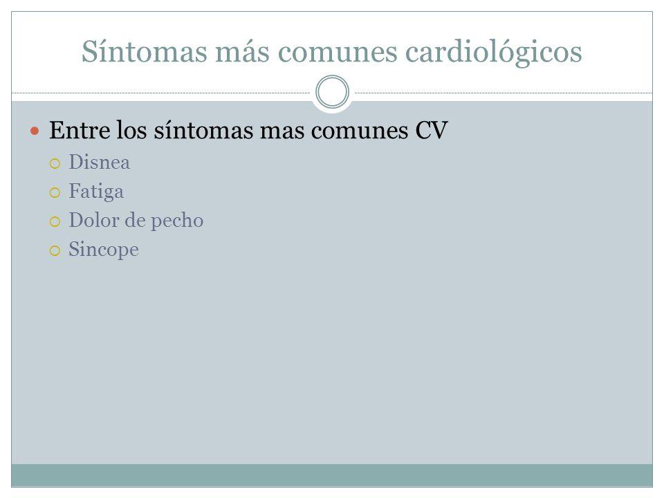 Síntomas más comunes cardiológicos Entre los síntomas mas comunes CV Disnea Fatiga Dolor de pecho Sincope