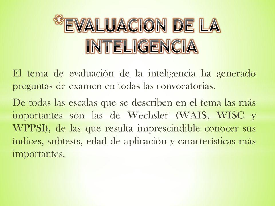 El tema de evaluación de la inteligencia ha generado preguntas de examen en todas las convocatorias. De todas las escalas que se describen en el tema