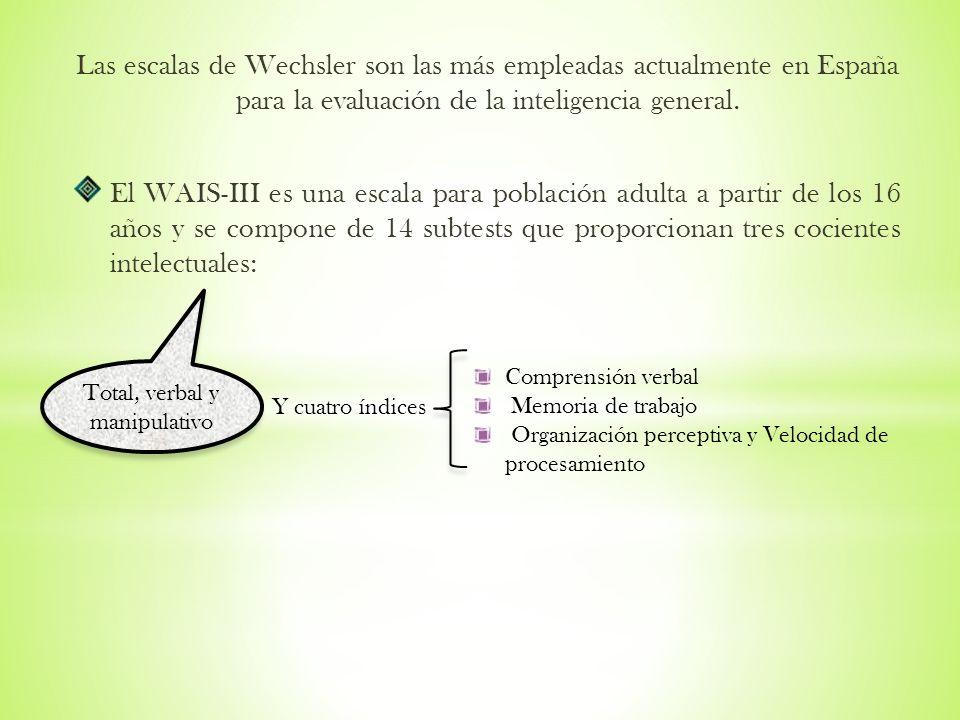 Las escalas de Wechsler son las más empleadas actualmente en España para la evaluación de la inteligencia general. El WAIS-III es una escala para pobl
