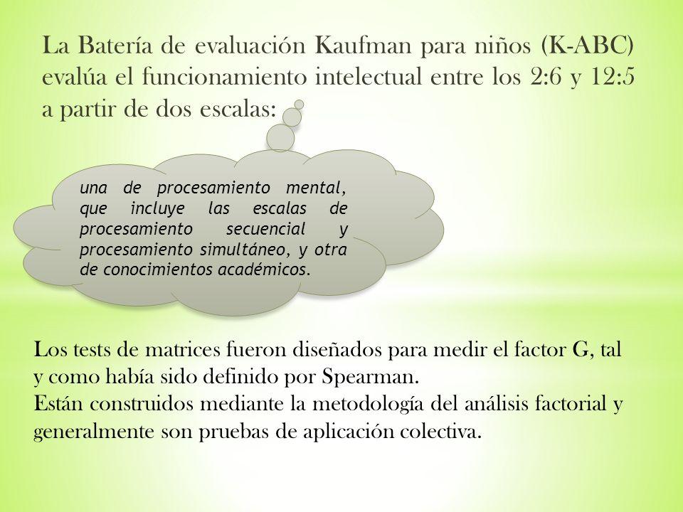 La Batería de evaluación Kaufman para niños (K-ABC) evalúa el funcionamiento intelectual entre los 2:6 y 12:5 a partir de dos escalas: una de procesam