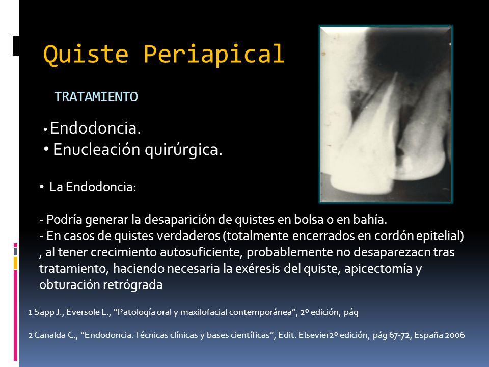 TRATAMIENTO Endodoncia. Enucleación quirúrgica. La Endodoncia: - Podría generar la desaparición de quistes en bolsa o en bahía. - En casos de quistes