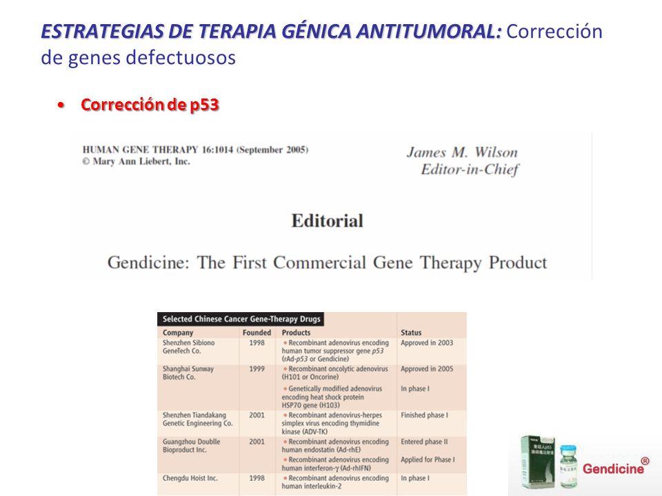 ESTRATEGIAS DE TERAPIA GÉNICA ANTITUMORAL: ESTRATEGIAS DE TERAPIA GÉNICA ANTITUMORAL: Corrección de genes defectuosos Corrección de p53Corrección de p53