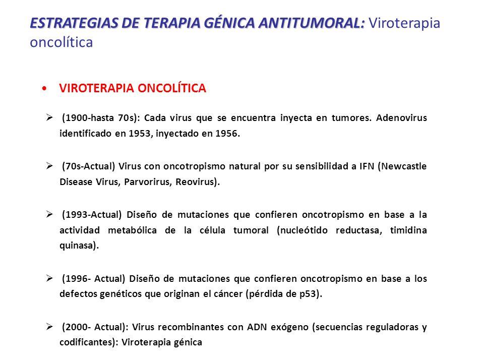 (1900-hasta 70s): Cada virus que se encuentra inyecta en tumores.