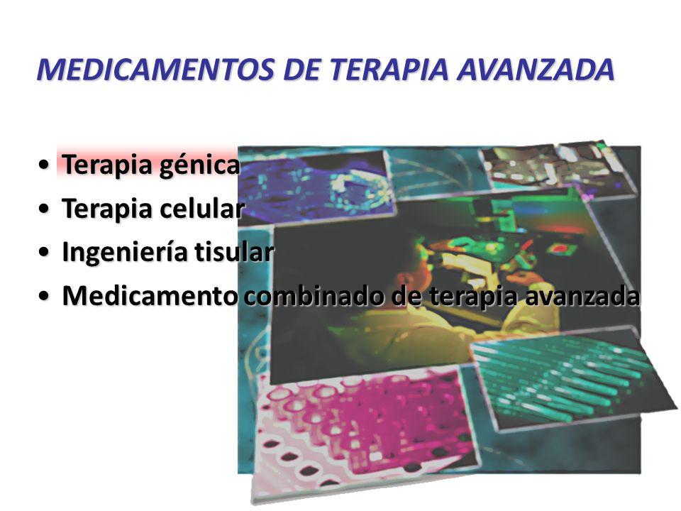 * Uso humano * Productos de origen autólogo, alogénico y xenogénico * Marco legal: > Reglamento (CE) Nº 1394/2007 del Parlamento Europeo y del Consejo de 13 de noviembre de 2007 sobre medicamentos de terapia avanzada.