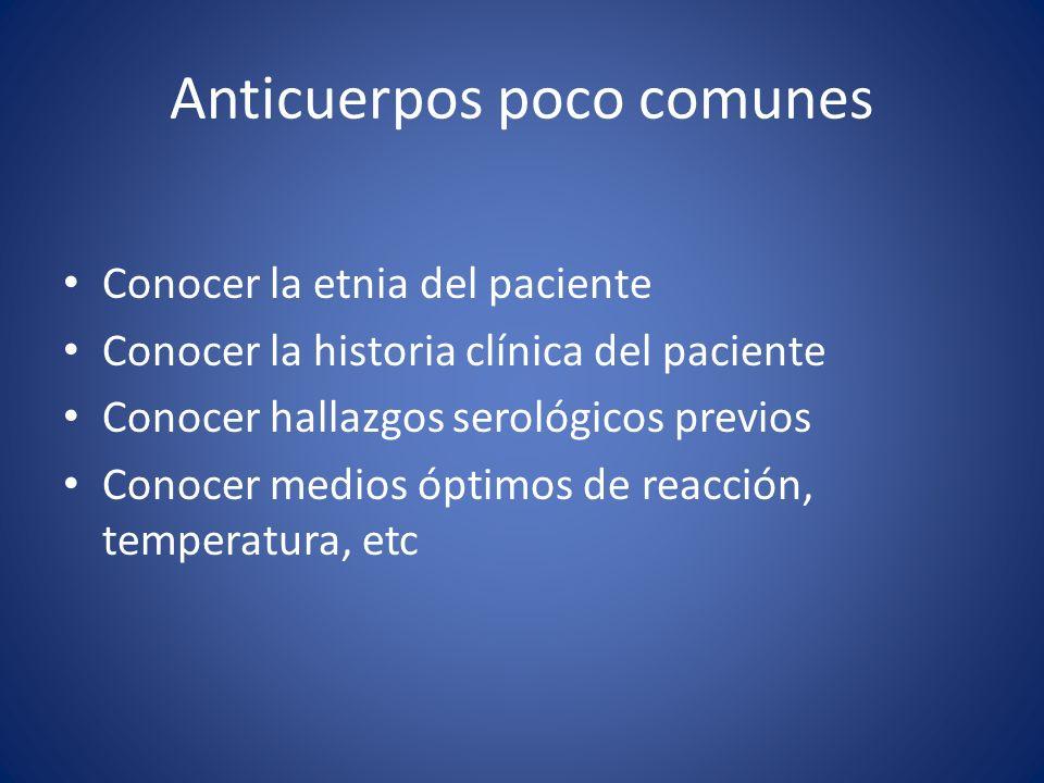 Anticuerpos poco comunes Conocer la etnia del paciente Conocer la historia clínica del paciente Conocer hallazgos serológicos previos Conocer medios ó