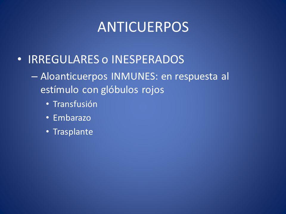 ANTICUERPOS IRREGULARES o INESPERADOS – Aloanticuerpos INMUNES: en respuesta al estímulo con glóbulos rojos Transfusión Embarazo Trasplante