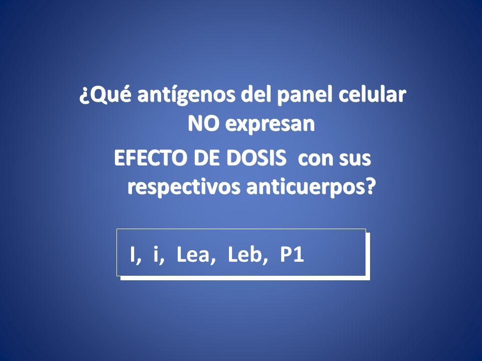 ¿Qué antígenos del panel celular NO expresan EFECTO DE DOSIS con sus respectivos anticuerpos? ¿Qué antígenos del panel celular NO expresan EFECTO DE D