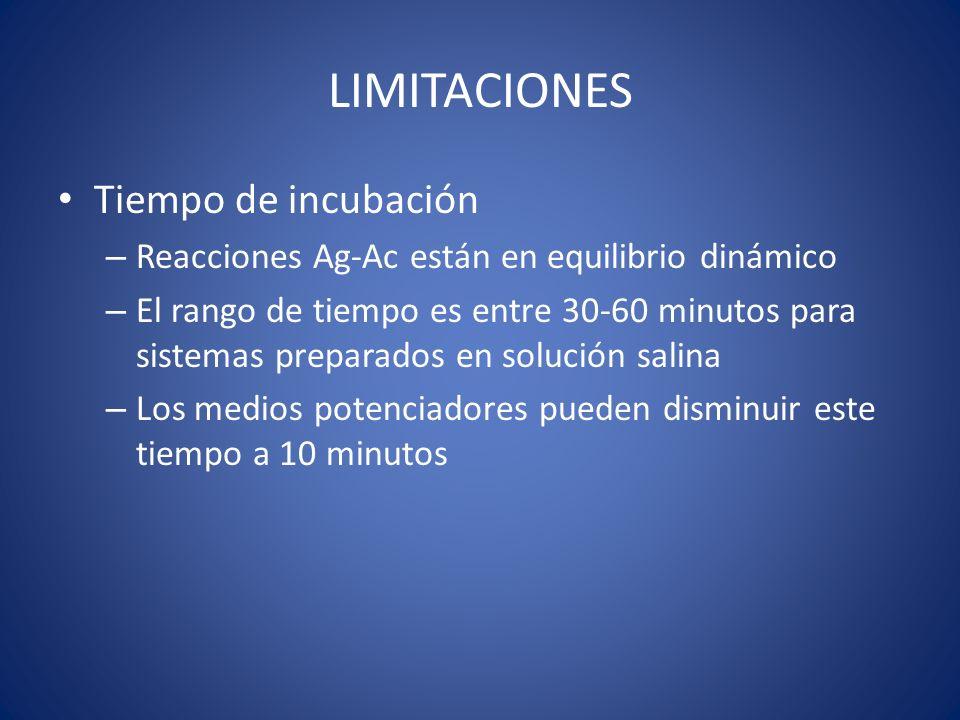LIMITACIONES Tiempo de incubación – Reacciones Ag-Ac están en equilibrio dinámico – El rango de tiempo es entre 30-60 minutos para sistemas preparados