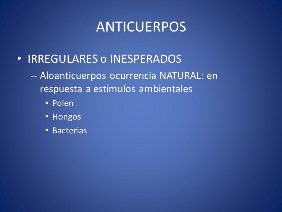 ANTICUERPOS IRREGULARES o INESPERADOS – Aloanticuerpos ocurrencia NATURAL: en respuesta a estímulos ambientales Polen Hongos Bacterias