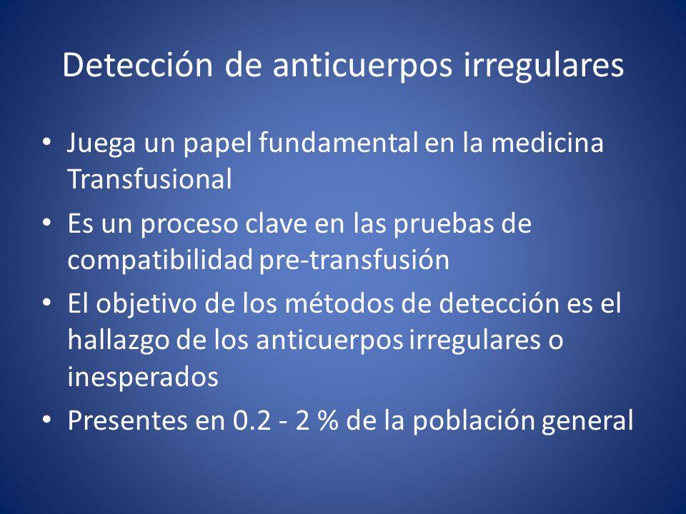 Detección de anticuerpos irregulares Juega un papel fundamental en la medicina Transfusional Es un proceso clave en las pruebas de compatibilidad pre-