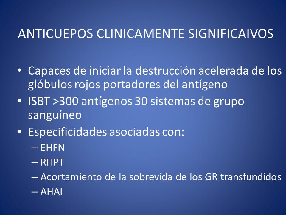 ANTICUEPOS CLINICAMENTE SIGNIFICAIVOS Capaces de iniciar la destrucción acelerada de los glóbulos rojos portadores del antígeno ISBT >300 antígenos 30