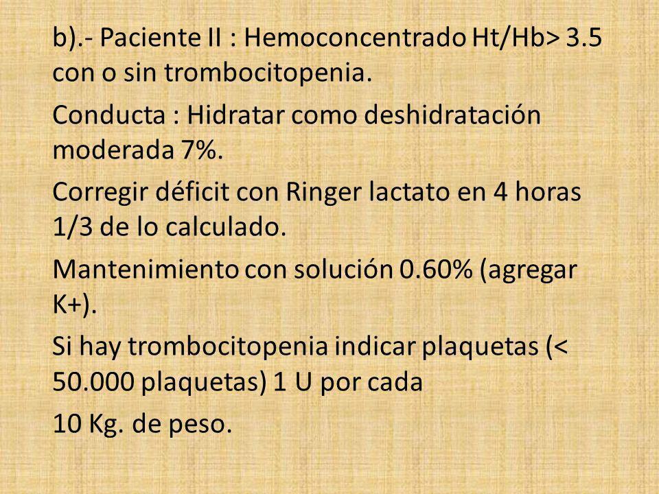 b).- Paciente II : Hemoconcentrado Ht/Hb> 3.5 con o sin trombocitopenia. Conducta : Hidratar como deshidratación moderada 7%. Corregir déficit con Rin