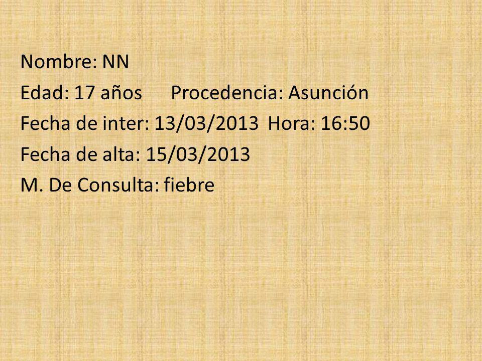 Nombre: NN Edad: 17 años Procedencia: Asunción Fecha de inter: 13/03/2013 Hora: 16:50 Fecha de alta: 15/03/2013 M. De Consulta: fiebre